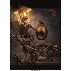 Night Patrol Chinese Steampunk Print by James Ng